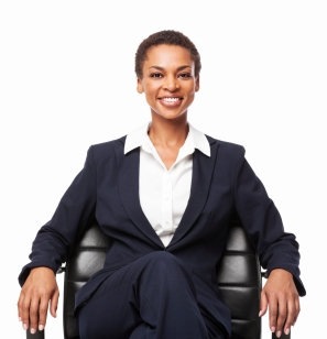 African American Businesswoman Sitting On Office Chair - Isolate