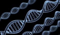 DNA spiral model on black background (done in 3d)