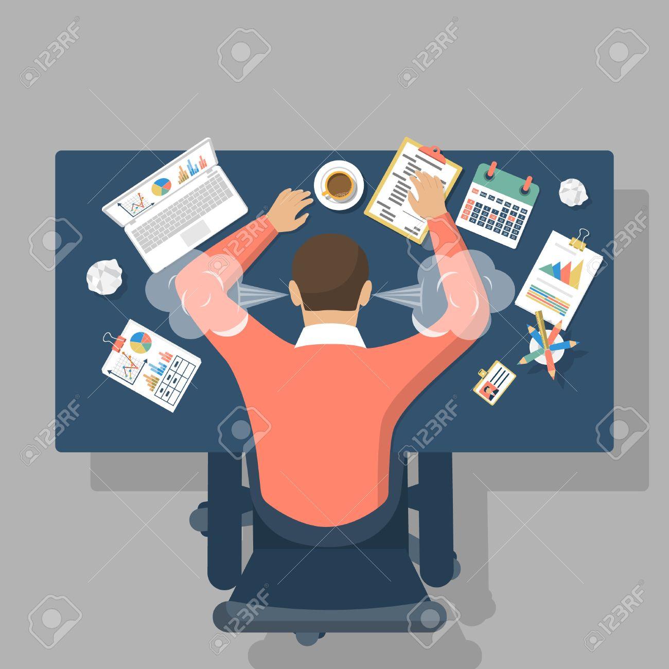 58809653-man-at-desk-overwhelmed-hard-work-stress-at-work-fatigue-at-work-vector-illustration-flat-design